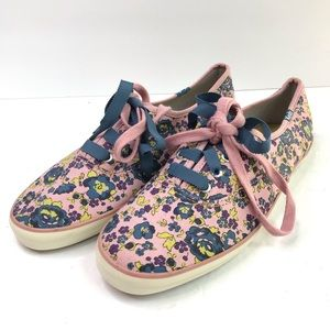 KEDS Pink Floral Sneakers Blue Ribbon Lace 6.5